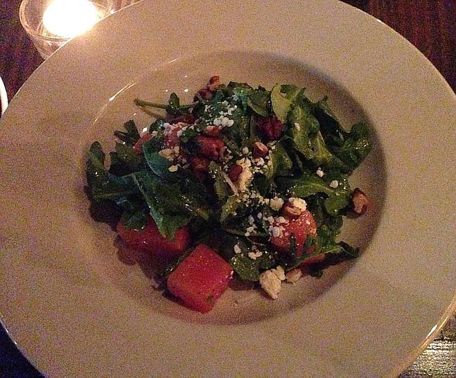 A refreshing, out-of-season Watermelon salad. Farmer's Bottega.