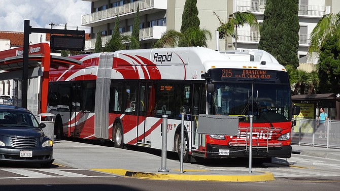 MTS Rapid 215 bus at Park Boulevard and University Avenue