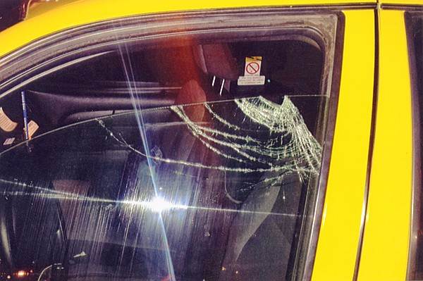 Broken cab window