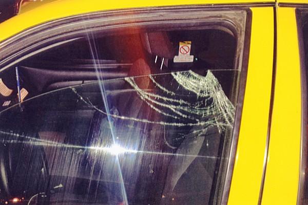 Broken cab window