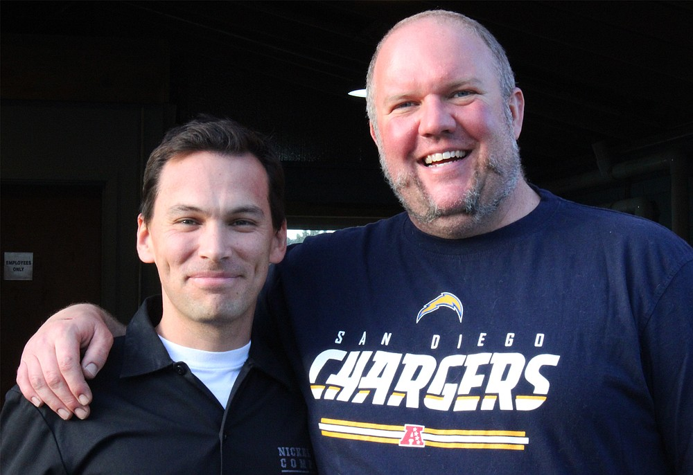 A picture taken with Nickel Beer Co. owner and brewmaster Tom Nickel (right) on the brew day for Double Dubbel, a Belgian-style quadrupel brewed to raise money for the Lupus Foundation of Southern California