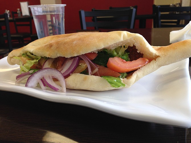 Falafel sandwich for $3.99. North Park Produce Bakery & Grill.