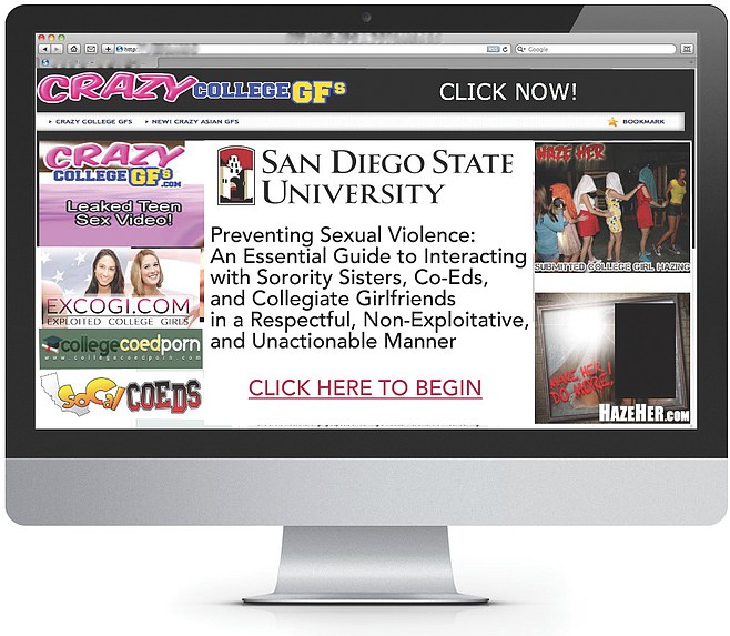 "Maybe ""sexual,"" ""sorority,"" ""co-ed,"" ""collegiate,"" and ""exploit"" weren't the best words to group on your homepage."