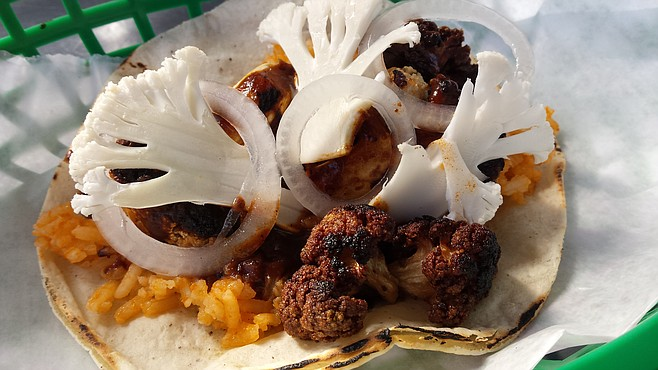You won't find Carmelita's roasted cauliflower and mole taco at street corner Tacos Various vendors.