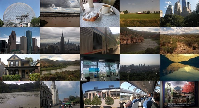 Collage of the author's Amtrak adventure highlights.