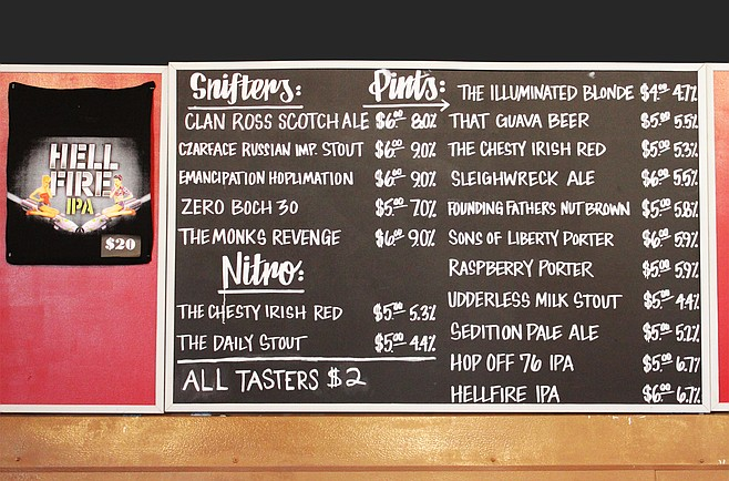 The grand opening beer list at Legacy Brewing Tap & Kitchen