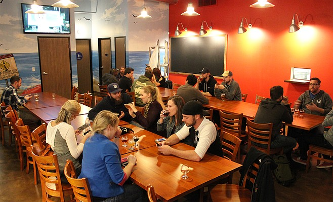 The back room at Rip Current Brewing's North Park venue