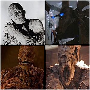 The Mummy from The Mummy (1932), Anubis from Stargate (1994), the Mummy from The Mummy (1999), and the Mummy from The Mummy Returns (2001), none of which appear in the crummy exhibit.
