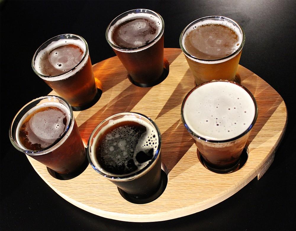 A taster flight from Wavelength Brewing Company in Vista
