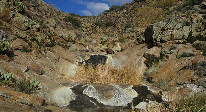 Runoff from the Laguna Mountains flows over granitic rocks and into placid pools.