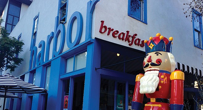 Last of Little Italy's toy soldiers stands guard outside Harbor Breakfast