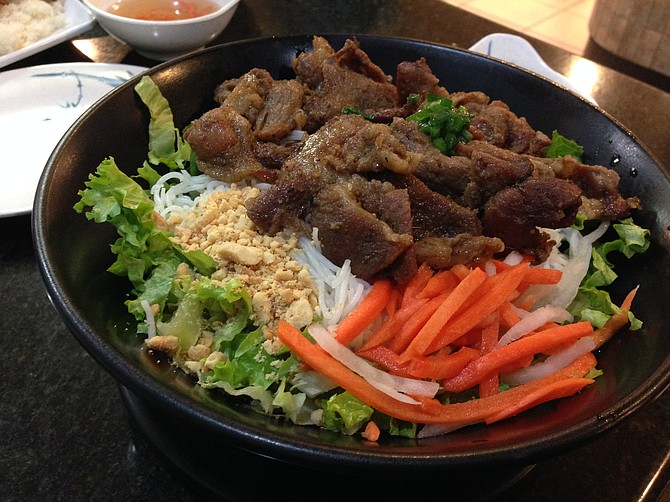 Noodles and meat make a salad feel like something else. Bún thịt nướng. Pho Cow Cali Express.