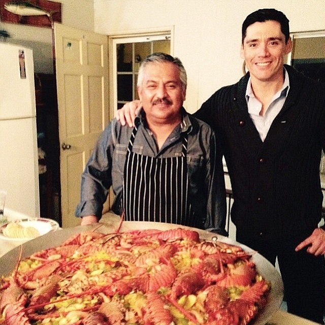 New Years' dinner of lobster paella with chef Juan Carlos Arreguin and host Hector Ojeda.