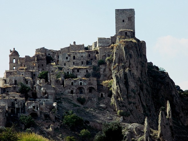 "Nearby ""ghost town"" of Craco."