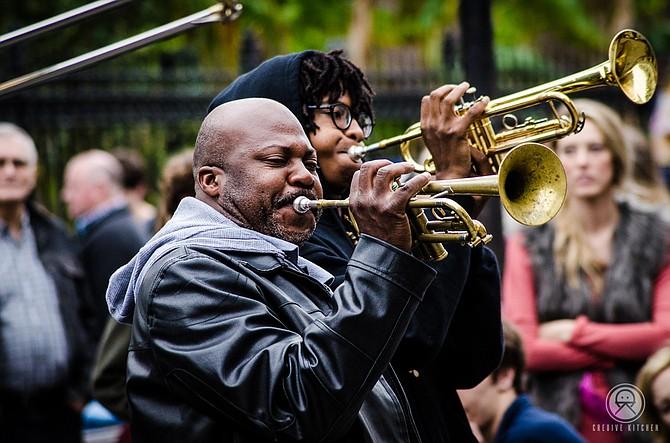 Jazz Performers at Jackson Square | New Orleans, LA  www.cre8ivekitchen Artist: Ben Rivera cre8ivekitchen@gmail.com