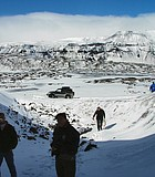 View from an ice cave in a glacier in Iceland. May 2004