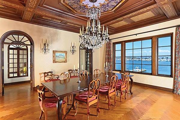 Herringbone parquet in the dining room