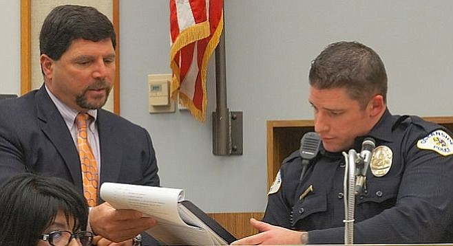 Attorney Rick Layon and Officer Grindley