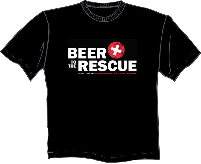 A mock-up of t-shirts, sales of which benefit the Beer to the Rescue charity campaign for the Lupus Foundation of Southern California