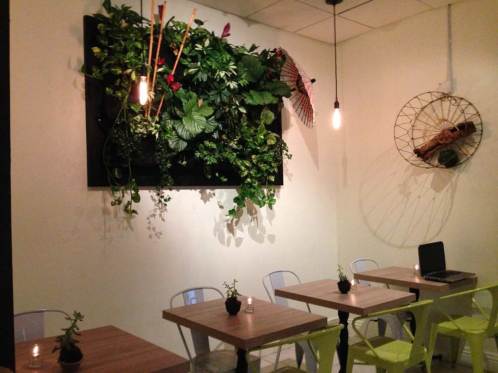 Living wall decor lets you know this place is modern.