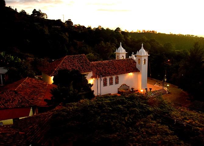 Cathedral at Sunset from La Posada de Doña Estafana. Santa Lucia, Honduras