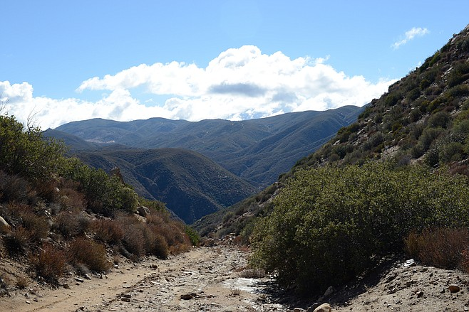 The Mason Valley Truck Trail descends into Oriflamme Canyon