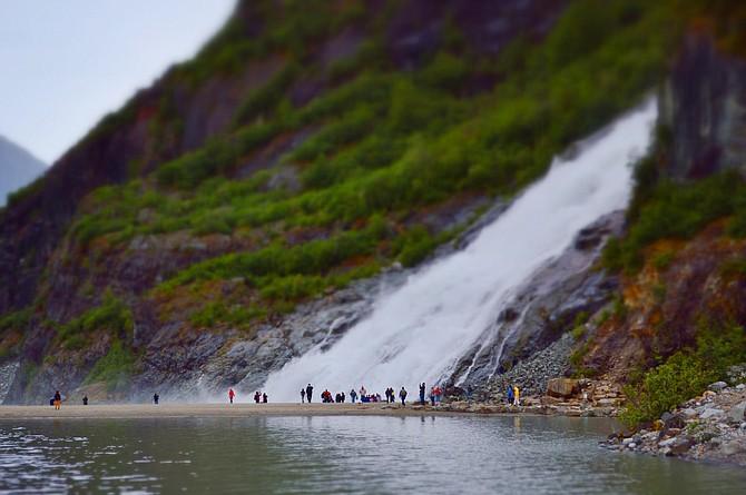 The towering Nugget Falls in Juneau, Alaska