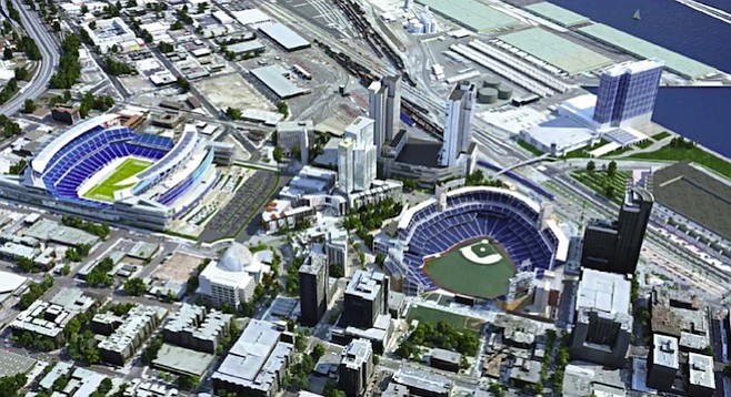 Concept photo showing a downtown football stadium next to Petco Park
