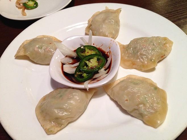 Jjin mandoo, a.k.a. pork-and-beef dumplings. Tofu Ka.
