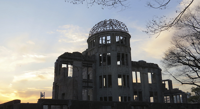 """Genbaku Dome, site of the Hiroshima Peace Memorial – and """"ground zero"""" of the atomic bomb – at sunset."""