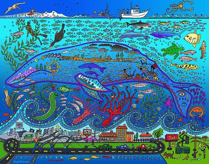 Print by San Diego waterman and artist Matt Rabasco