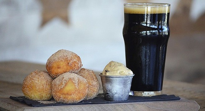 Espresso-filled doughnuts and New English's Zumbar Chocolate Coffee Imperial Stout at Draft Republic