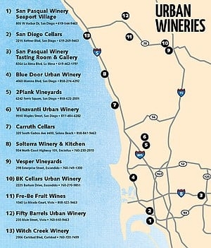 Map of San Diego wineries