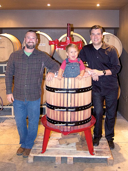 Mark Olsen and Will Perri of Olsen Perri use an Italian basket press to gently crush grapes.