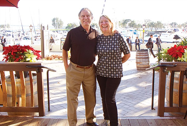Mike and Linda McWilliams at their tasting room overlooking the marina at Seaport Village.