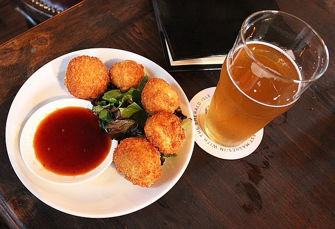 The best happy hour for a beer hound like me san diego reader fried goat cheese and sweet chile sauce at half door brewing company planetlyrics Choice Image