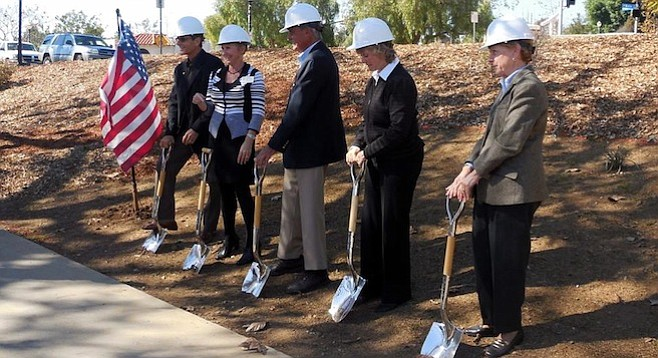 Groundbreaking ceremony for Rotarians' Veterans Memorial Wall, February 3