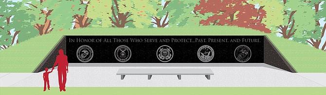 Artist's rendering of Veterans Memorial Wall