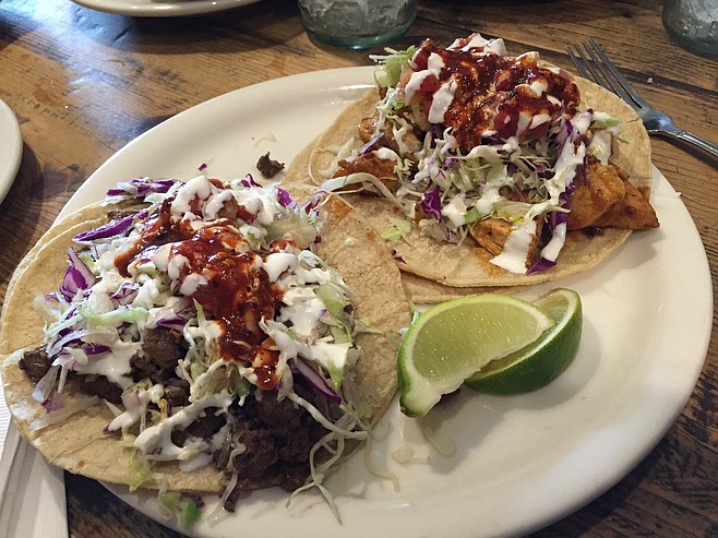 Sirloin and chicken tacos. Mouthwatering yumness.