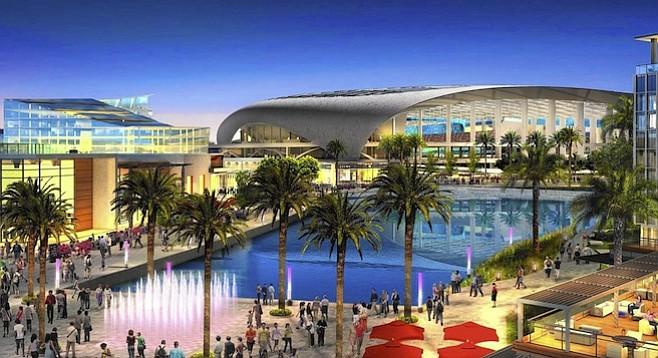 Artist's rendering of proposed Inglewood stadium