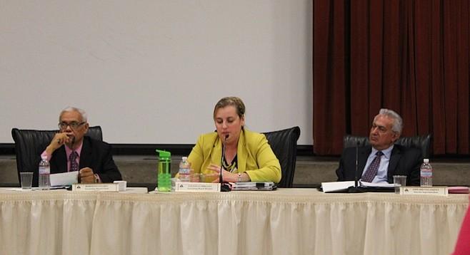 Trustee Rodolfo Linares, Luciana Corrales, and interim superintendent Edward Velasquez
