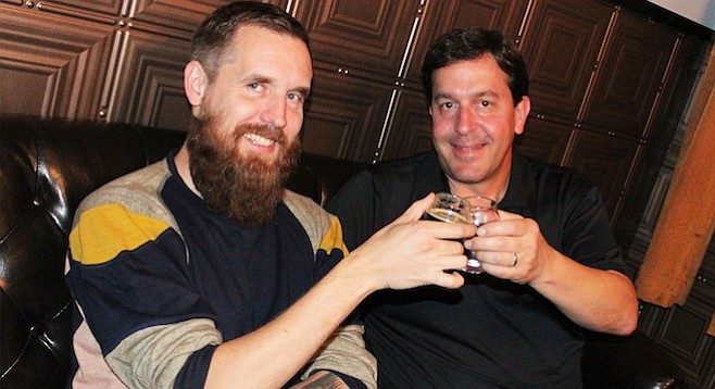 Mikkeller brewmaster Mikkel Borg Bjergsø (left) and AleSmith brewmaster Peter Zien toast their upcoming collaboartive partnership