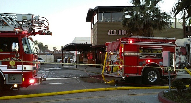 Most of the P.B. Alehouse was saved, thanks to the fire station next door.