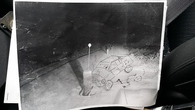 Illustration of the potential hazard of mid-road bollards