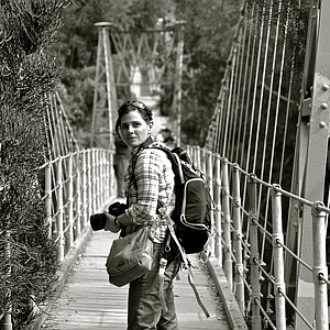 Bankers Hill, San Diego. Shot was taken with my Nikon D3100 at the Suspension Bridge. The person on this photo is my photography teacher, Jackie Carter; because of her I was introduced to the amazing world of photography.