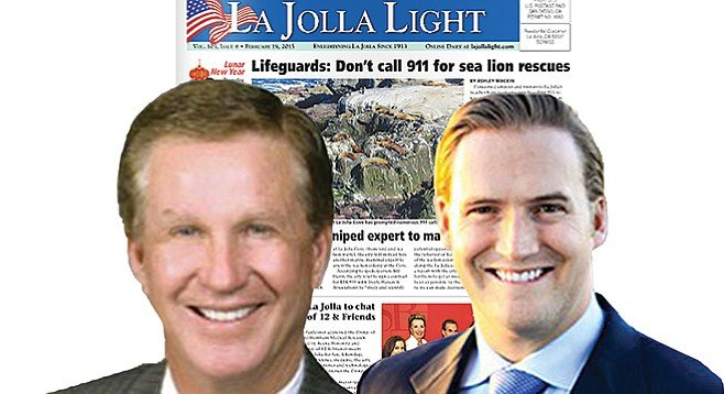 Douglas F. Manchester (with Douglas W. Manchester, right) couldn't have bought better press from the La Jolla Light.
