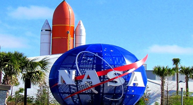 Entrance to Cape Canaveral's Kennedy Space Center, 20 minutes north of Cocoa Beach.