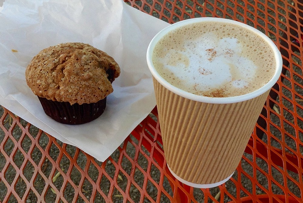My $3.50 Crackhead chai latte and day-old $1.50 muffin