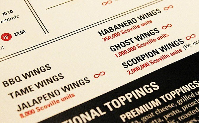 The hot wing options at Regents Pizzeria