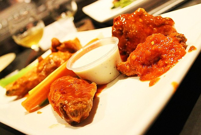 From left to right: habanero, scorpion, and ghost pepper wings at Regents